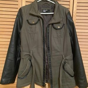 WILLIAM RAST Utility Jacket with Leather Sleeves